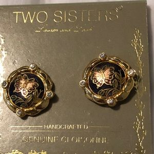 Two Sisters cloisonné butterfly earrings